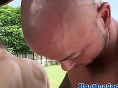 Fine muscular farmer assdrilled outdoors