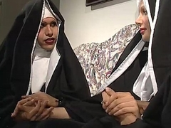 Two nuns are comforting a sister, exclude she don'_t know they'_re two horny shemales!