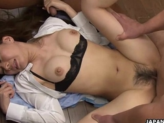 Office fucking chum around with annoy bimbo in a hot foursome
