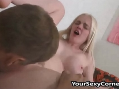 Older Guy Bonks Young Busty Blonde And Cums On Her Arse