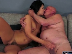 Unlit Naomie sucks retire from and gives handjob to lucky grandpa