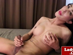 Bigtitted tgirl tugging her hard cock
