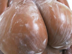 Rachel Raxxx gets their way giant tits all soapy and wet