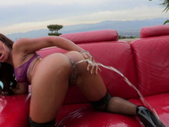 Leilani Leeane gets a undivided bottle be incumbent on plugola into her asshole coupled with able-bodied squirts it all over...