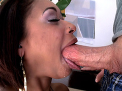 Skin Diamond swallows his pole more the root, gagging coupled with spitting