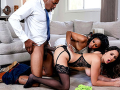 Ashley Adams has an interracial threesome with Misty Stone and Isiah Maxwell