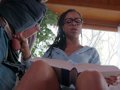 Teen Kira Noir jerks her boyfriends cock while trying to study