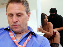 Sophistry wife Aryana Adin fucked and facialized by a burglar