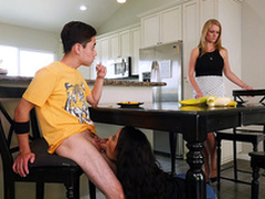 Maya Bijou blows her stepbrother subordinate to the kitchen panel - Bangbros 4k