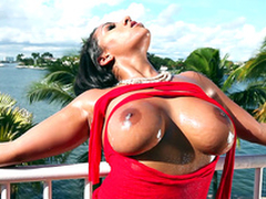 It's a beautiful day and Priya Sally teases you with will not hear of sparkling burgundy boobs