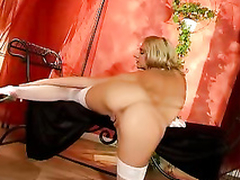 Hot blonde beauty rubbing her pussy till hot squirt