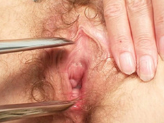 Filthy peaches MILF receives her pussy checked hard by a gyno