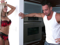 Naughty Nina Elle hops on his erection to ride