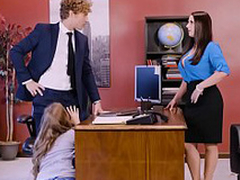 Lena Paul in office threesome with two bosses and a sexy employee
