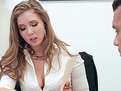Buxom blonde secretary Lena Paul gets cum on huge tits at the slot