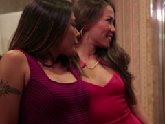 Lavish ladies upset a hunk in a bathroom for a nice threesome