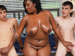Ebony Mom Having Fun With Stepson and His Side