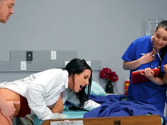 Doctor Angela White teaching her young med students on a difficulty job