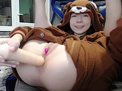Sexy brunette legal age teenager bear costume masturbating on webcam