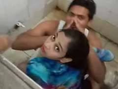 Desi small fry fucking his girlfriend up elevate d vomit toilet & Snowy by elevate d vomit