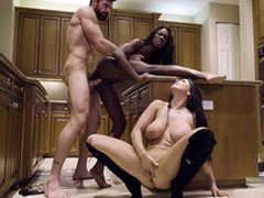 Man nails black chick Ana Foxxx while Romi Rain sucks his XXX cock