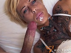 Tattooed mom with short hair enjoys XXX pepperoni surpassing the weak-minded date