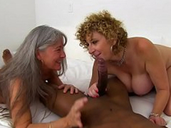 Busty Sara Punchinello and her old mom cosset themselves with black XXX staff