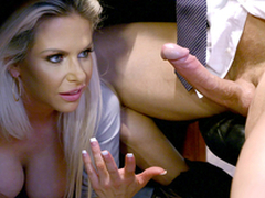 Redhead Skyla Novea hold the reins mom Rachel Roxxx giving boss XXX blowjob