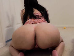 Thick and busty thick MILF sucks my cock in the XXX  bathroom