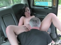 Nasty passenger nailed by horny driver in a catch backseat