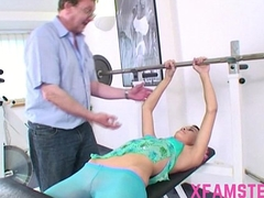Slim tiny stepdaughter amateur bitch in gym fucked hard hard by old omnibus stepdad